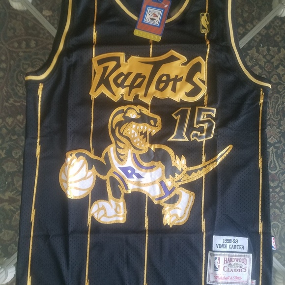 black and gold raptors jersey